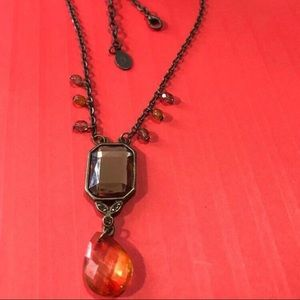 Robert Rose Faux Amber and Glass Bead Necklace
